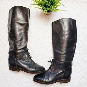 Vintage Joan & David Black Leather Riding Boots